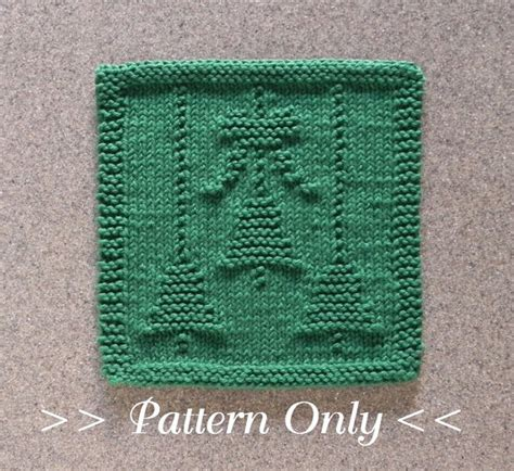 christmas bells bow knit dishcloth pattern pdf instant