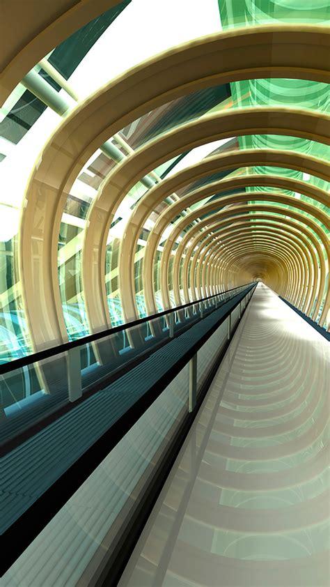futuristic passageway  rendering windows  spotlight