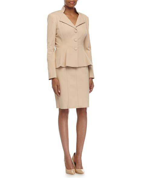 unger stretch knit jacket pencil skirt suit in