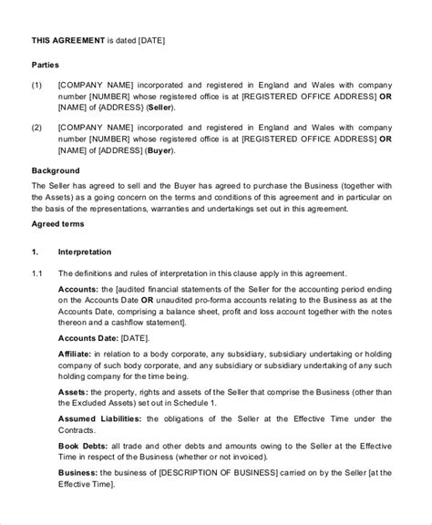 business purchase and sale agreement template sle business purchase agreement 7 documents in pdf word