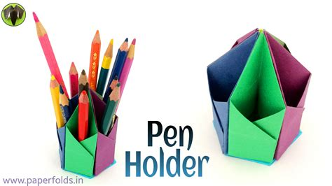 Origami Pencil Holder - origami craft tutorial to make a paper hexagonal pen