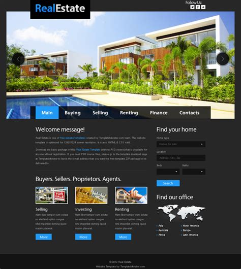 Free Website Template For Real Estate With Justslider Template Website