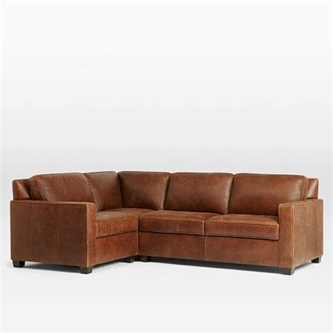 henry leather sectional henry 174 3 piece sectional leather west elm