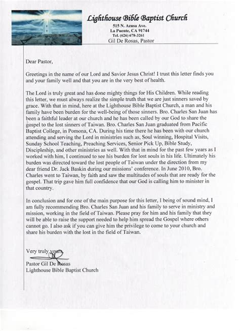 Recommendation Letter For Bible College Pray For Taiwan Our Recommendation