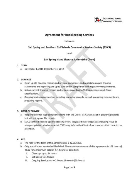 6 Bookkeeping Contract Templates Pdf Free Premium Templates Bookkeeping Agreement Template