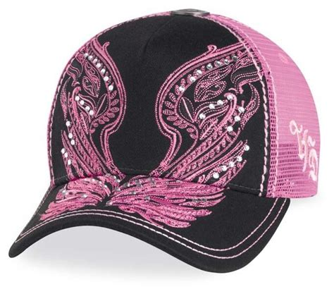 harley davidson motorcyle womens pink wings hat with