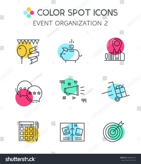 event design elements line icons events planningmodern design graphic stock