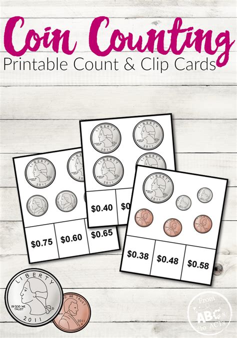 can you make money counting cards coin counting printable count and clip cards from abcs