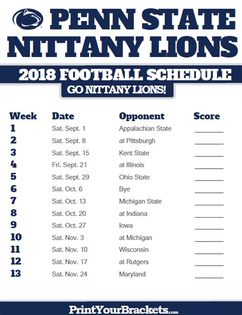 printable lions schedule penn state nittany lions 2018 football schedule printable