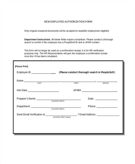 employment authorization form 11 sle employment authorization forms free sles