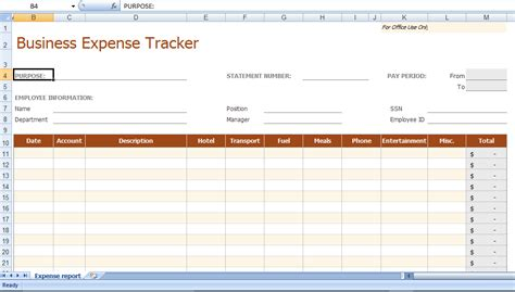 Business Expenses Excel Template by Excel Business Expense Tracker Template Personal Budget