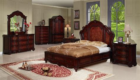 antique wood carving bedroom home furniture set fnw
