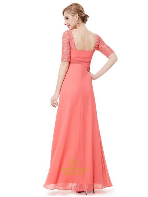 coral chiffon floor length bridesmaid dress with lace half