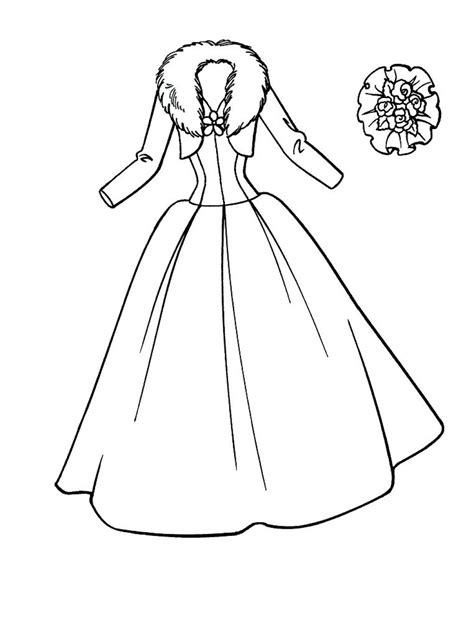Coloring Page Dress by Printable Wedding Dress Coloring Pages For