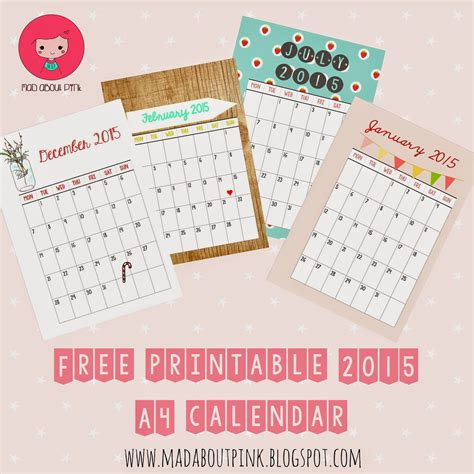 cute printable planner pages 2015 mad about pink 2015 free printable a4 calendar must