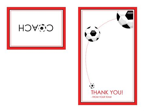 football thank you card template free thank you card for soccer coach quarter fold templates