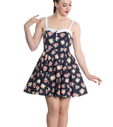 Sandal Trendy Blue Flowerrabbit hell bunny navy blue floral roses flowers mini dress polka dot all sizes ebay