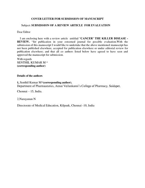 cover letter for publication submission sle
