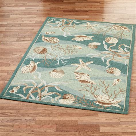 Bathroom Area Rug Seashells Hooked Area Rugs