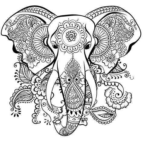 awesome coloring books awesome elephant mandala coloring pages design printable