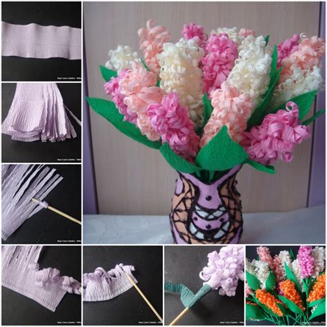 How To Make Flowers Out Of Crepe Paper - diy beautiful crepe paper hyacinth flower
