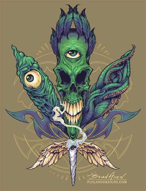 skull pot leaf tattoo designs evil t shirt illustration flyland designs