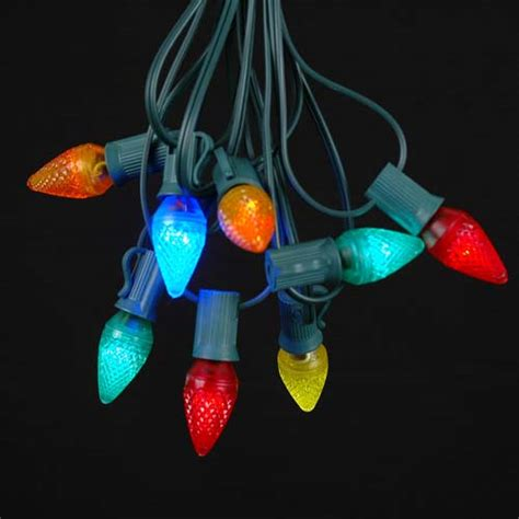 novelty lights multi assorted led c7 outdoor string light set on green