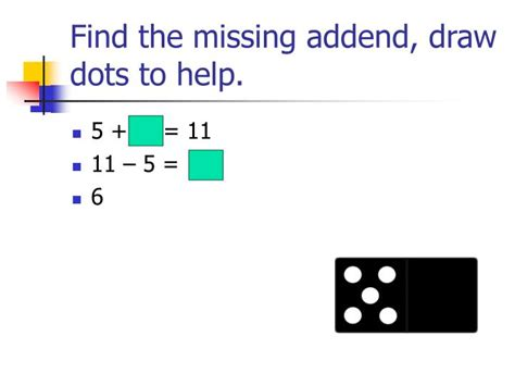 find the dots ppt missing addends powerpoint presentation id 1457448
