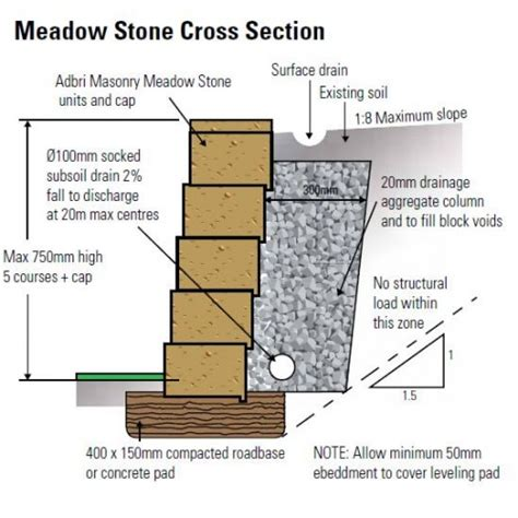 retaining wall section adbri masonry meadow stone 400x200x150mm retaining wall block