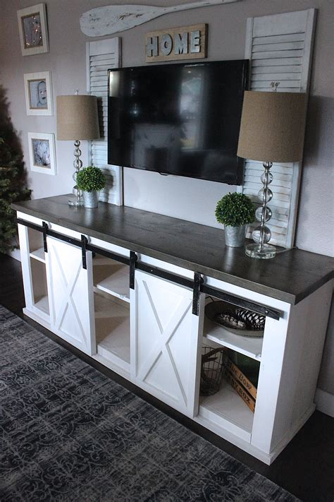 ikea tv cabinet with sliding doors ana white sliding barn door console diy projects