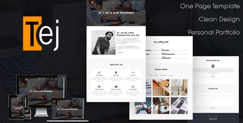 Tej One Page Personal Portfolio Html Template By Withhtml Themeforest Html Personal Website Templates Free