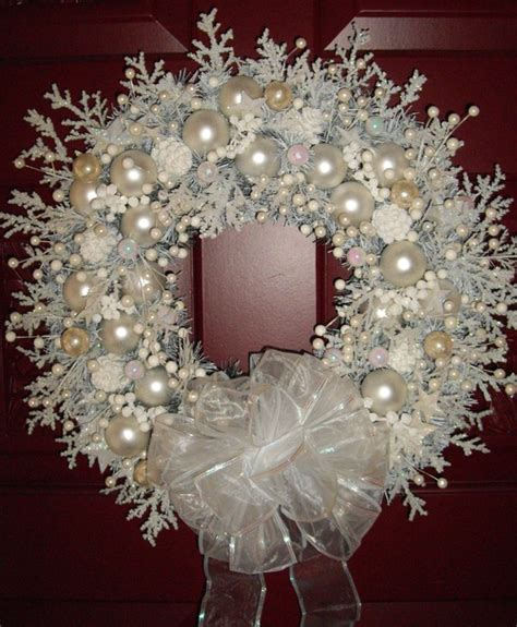 snow white shabby chic christmas wreath pinpoint