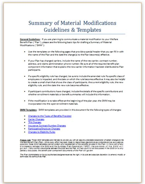 summary of material modifications template choice image