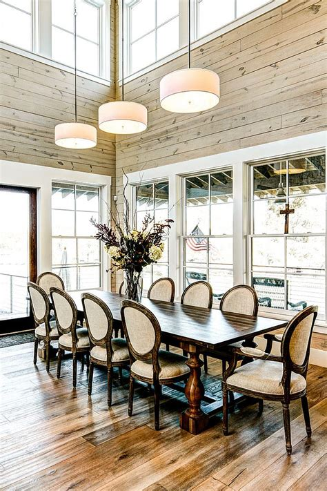 Birdcage Chandelier Light 30 Unassumingly Chic Farmhouse Style Dining Room Ideas