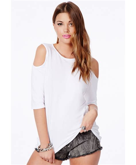 Open Shoulder Top missguided basia white open shoulder top with curve hem in
