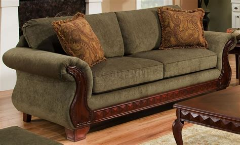 traditional loveseats green fabric traditional sofa loveseat set w carved wood