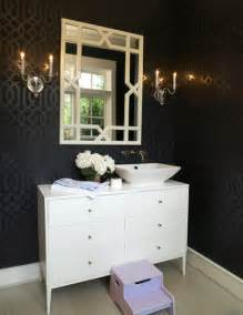 black white and silver bathroom ideas imperial trellis wallpaper eclectic bathroom house