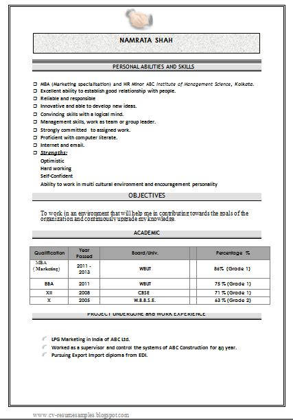 Mba Resume Format Ms Word by Mba Marketing Fresher Resume Sle Doc 1 Career
