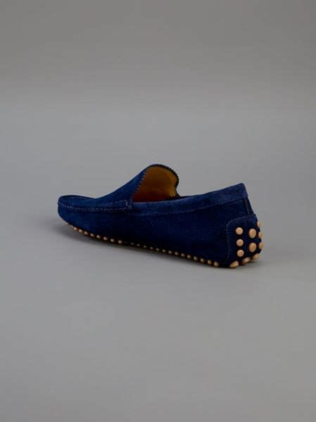 gucci blue suede loafers gucci suede loafer in blue for lyst