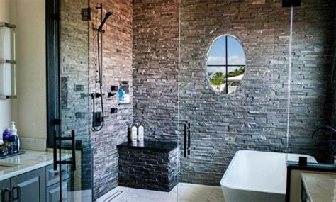 Rustic Bathroom Designs by Natural Stone Showers Stacked Stone Veneer Panels For