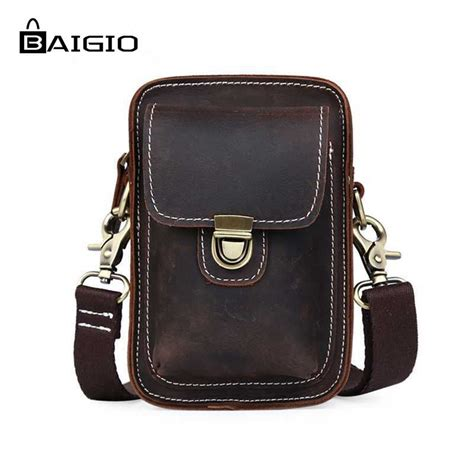 Waistbag Brown 1 aliexpress buy baigio waist bag genuine leather bag belt pack mobile phone bag