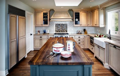 Beautiful Farmhouse Kitchen Portland #1: Inspired-Butcher-Block-Countertop-vogue-Other-Metro-Beach-Style-Kitchen-Remodeling-ideas-with-blue-cabinets-blue-island-butcher-block-island-cream-cabinets-cup-pulls-double-bowl-farmhouse.jpg