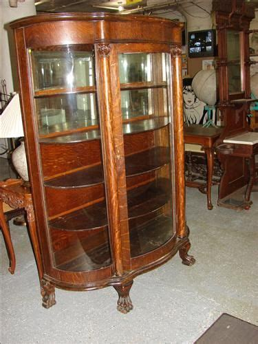 antique corner china cabinet antique curved glass claw foot china cabinet