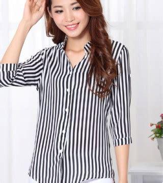 Dress Midi Pakaian Wanita Putih Hitam Garis Baju Impor Murah Af D 39 kemeja wanita motif garis hitam putih model terbaru