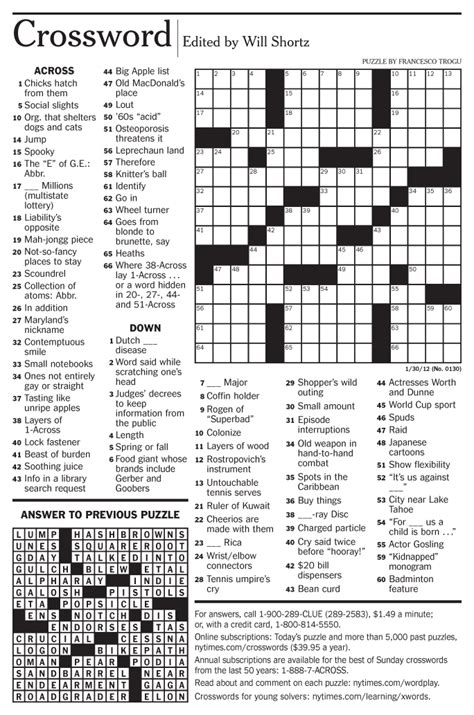 Pdf New York Times Free Mini Crossword by Francesco Trogu The New York Times Crossword Puzzle