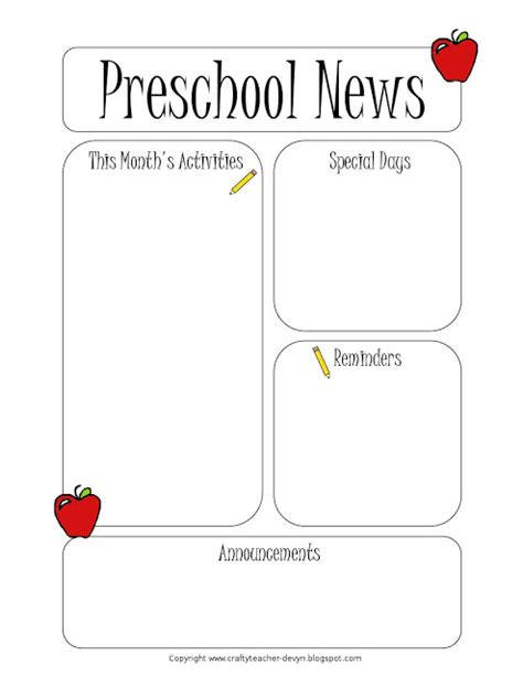 Preschool Newsletter Template The Crafty Teacher Printable Newsletter Templates For Teachers