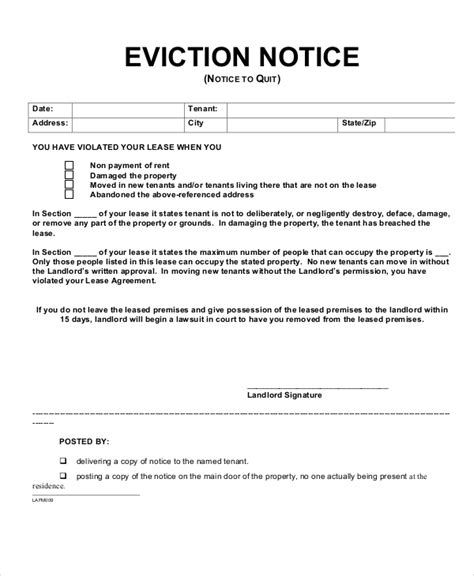 section 8 nj landlord eviction notice exle eviction notice pdf template