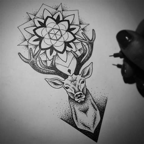 tattoo mandala deer super dotwork deer head with mandala between horns tattoo