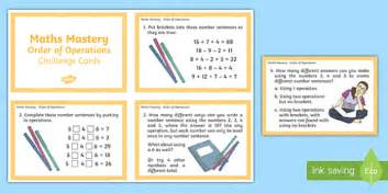 year 6 maths challenge cards year 6 order of operations maths mastery challenge cards ks2
