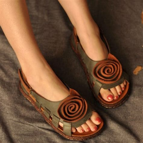 National Handmade Leather Shoes Poppy - aliexpress buy vintage handmade leather sandals
